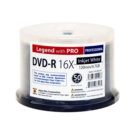 Pro Line Mid Range Disc - 50 Spindle DVD-R Legend with PRO TY-JDC 16X 4.7GB 120Min (MID TYG03) White Inkjet Hub Printable Blank Recordable Disc