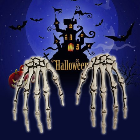 Halloween Skeleton Hand Prop (1 Pair Plastic Realistic Skeleton Hands Bone Halloween Party Decorations Props Haunted House Bar Decor Trick)