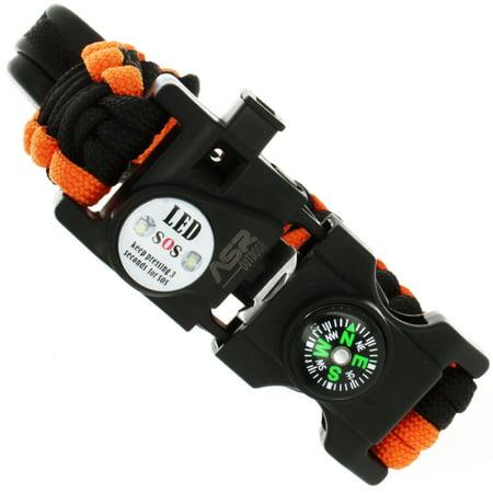 ASR Outdoor- Multitool Paracord Survival Bracelet - Orange and Black - Para Cord Bracelets