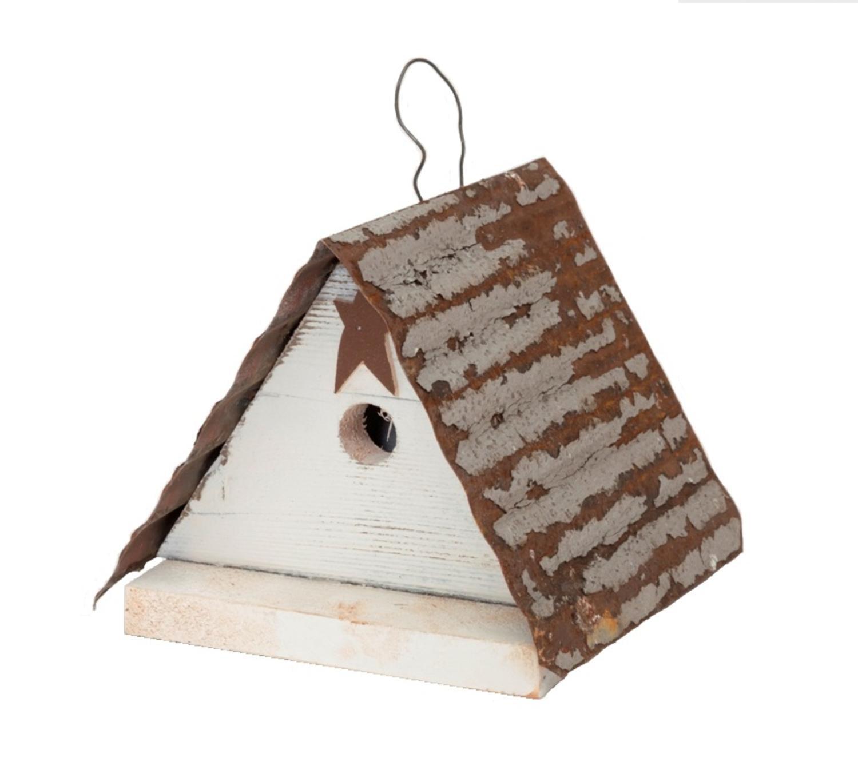 "9.25"" White Rusted 'Friendsville' Outdoor Garden Bird House for Small Birds"