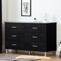 South Shore Cosmos Double 6-Drawer Dresser, Charcoal and Black Onyx
