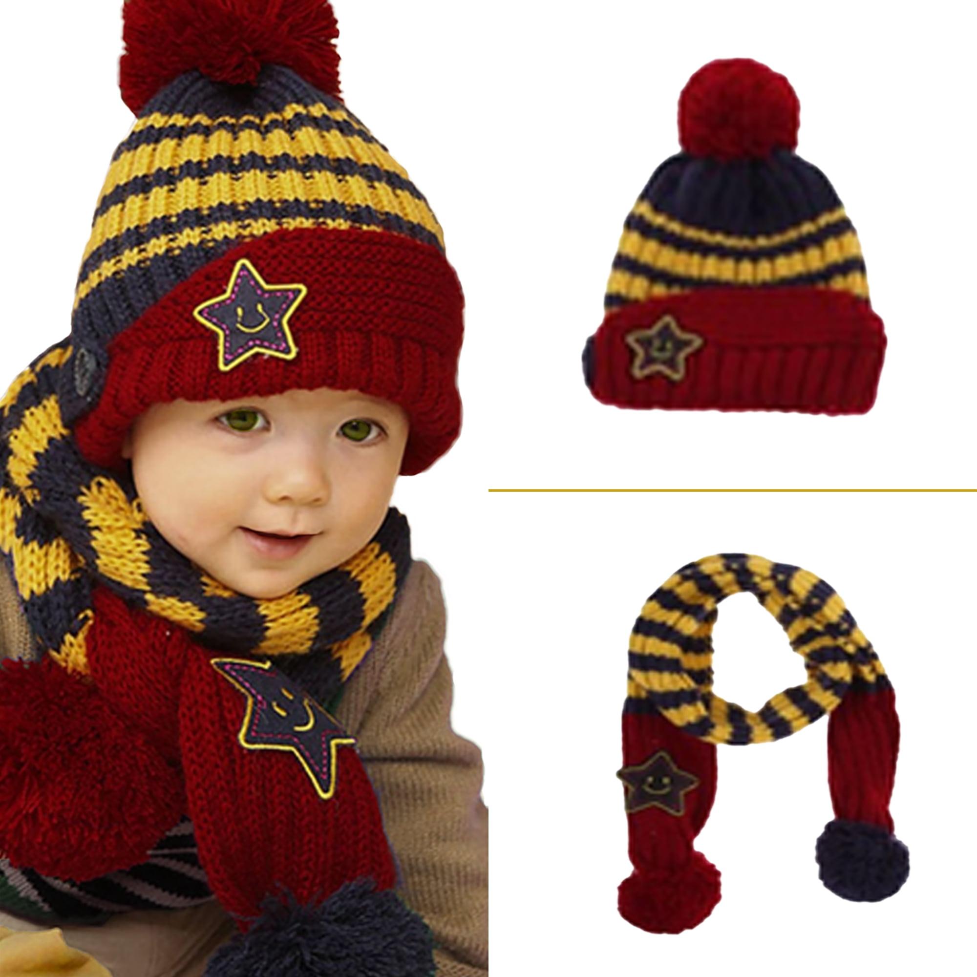Queen.Y Hat Scarf Set,Winter Warmer Striped Hat Scarf Set for 0-3Y Babies