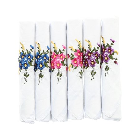 Size one size Women's Floral Embroidered Cotton Handkerchiefs (Pack of 6),
