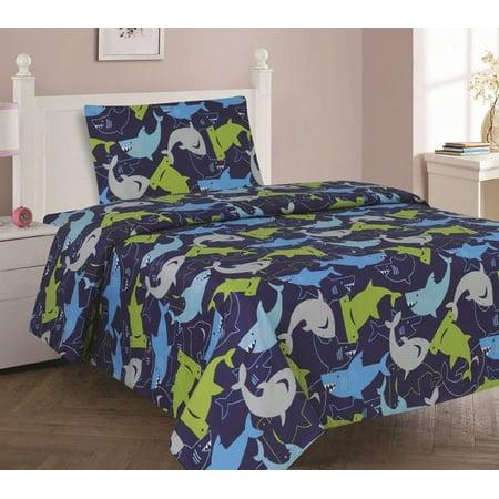 - SHARK BLUE Twin Size 3-Piece Kids Printed Microfiber Bedding Sheet Set 1 Flat Sheet, 1 Fitted Sheet, and 1 Pillowcase