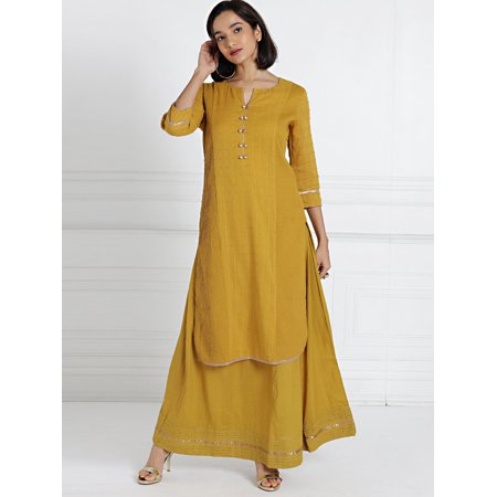 all about you from Deepika Padukone Women Mustard Self Design Kurta with Skirt - image 4 of 6