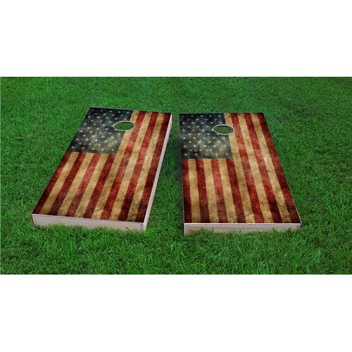 Custom Cornhole Boards Worn American Flag Cornhole Game Set by Custom Cornhole Boards