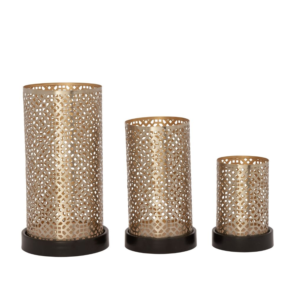 Classy Set Of Three Metal Candle Holder Silver