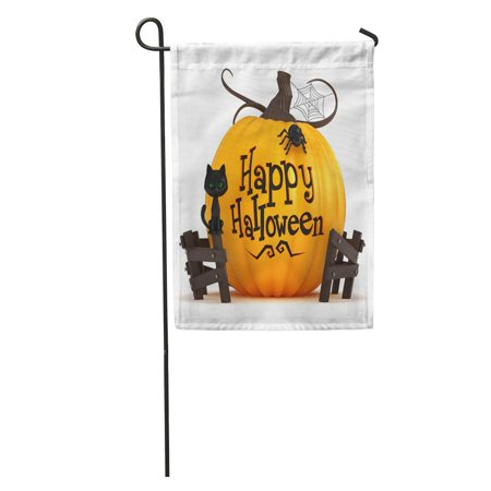NUDECOR Orange Happy 3D Render of Halloween Pumpkin Holiday Costume Trick Garden Flag Decorative Flag House Banner 28x40 inch - image 1 de 2