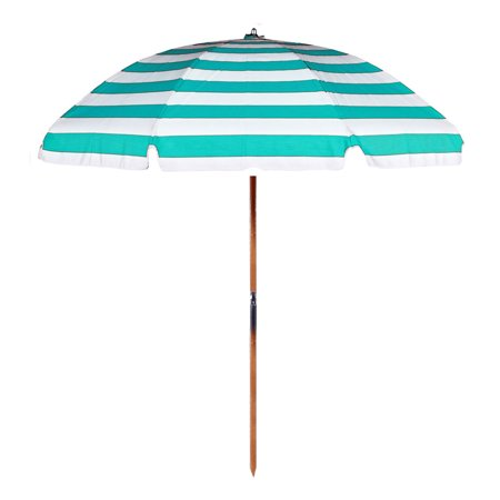 Steel Commercial Grade Beach Umbrella With Ash Wood Pole Acrylic Fabric