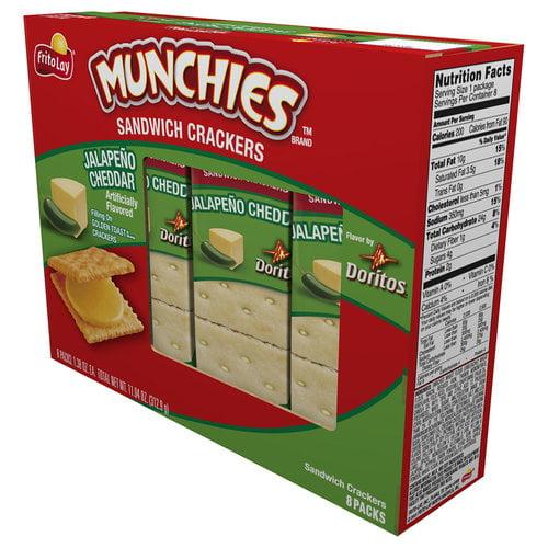 Munchies Jalapeno Cheddar Sandwich Crackers, 1.38 oz, 8 count