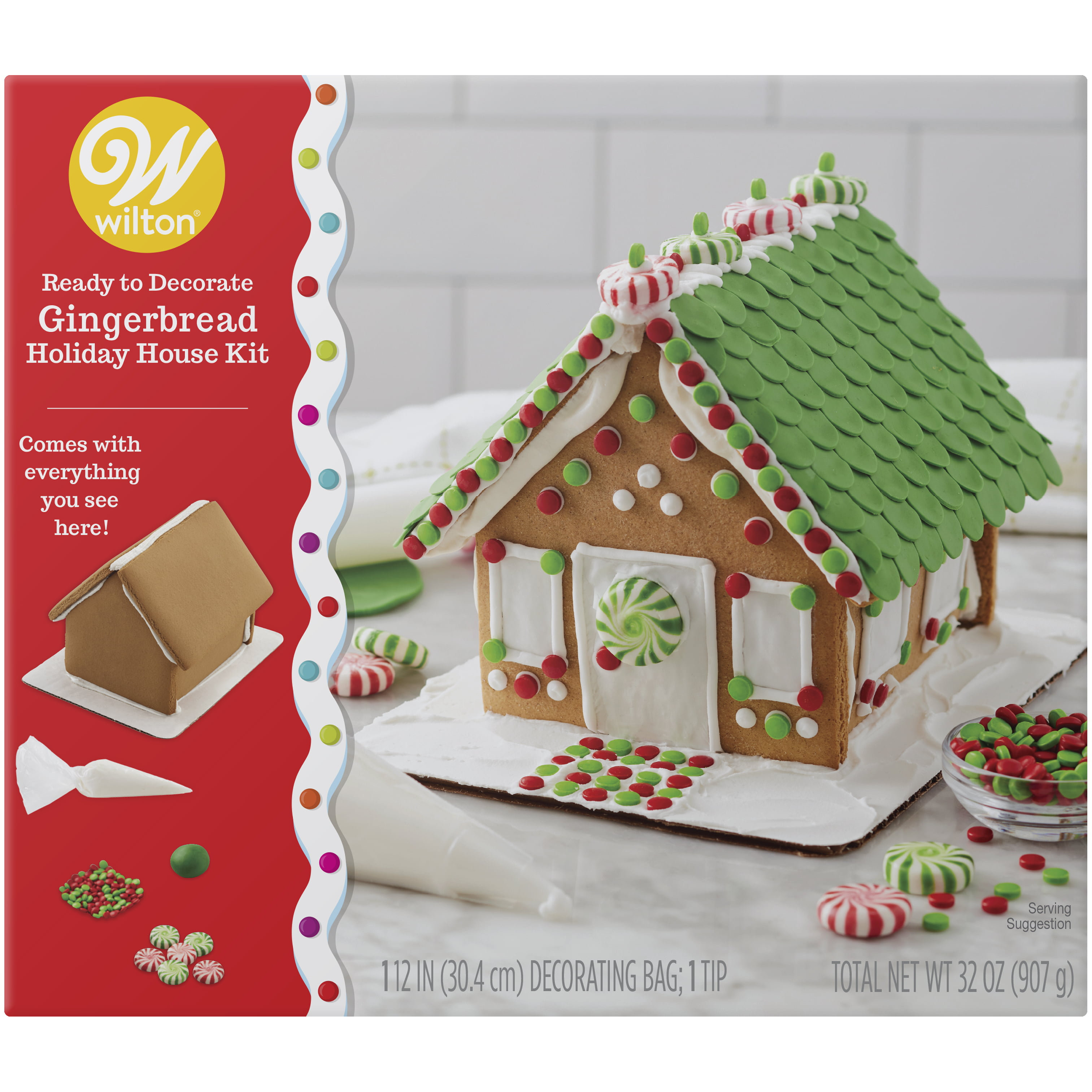 Wilton Ready To Decorate Dressed For The Holidays Gingerbread House Decorating Kit Walmart Com Walmart Com