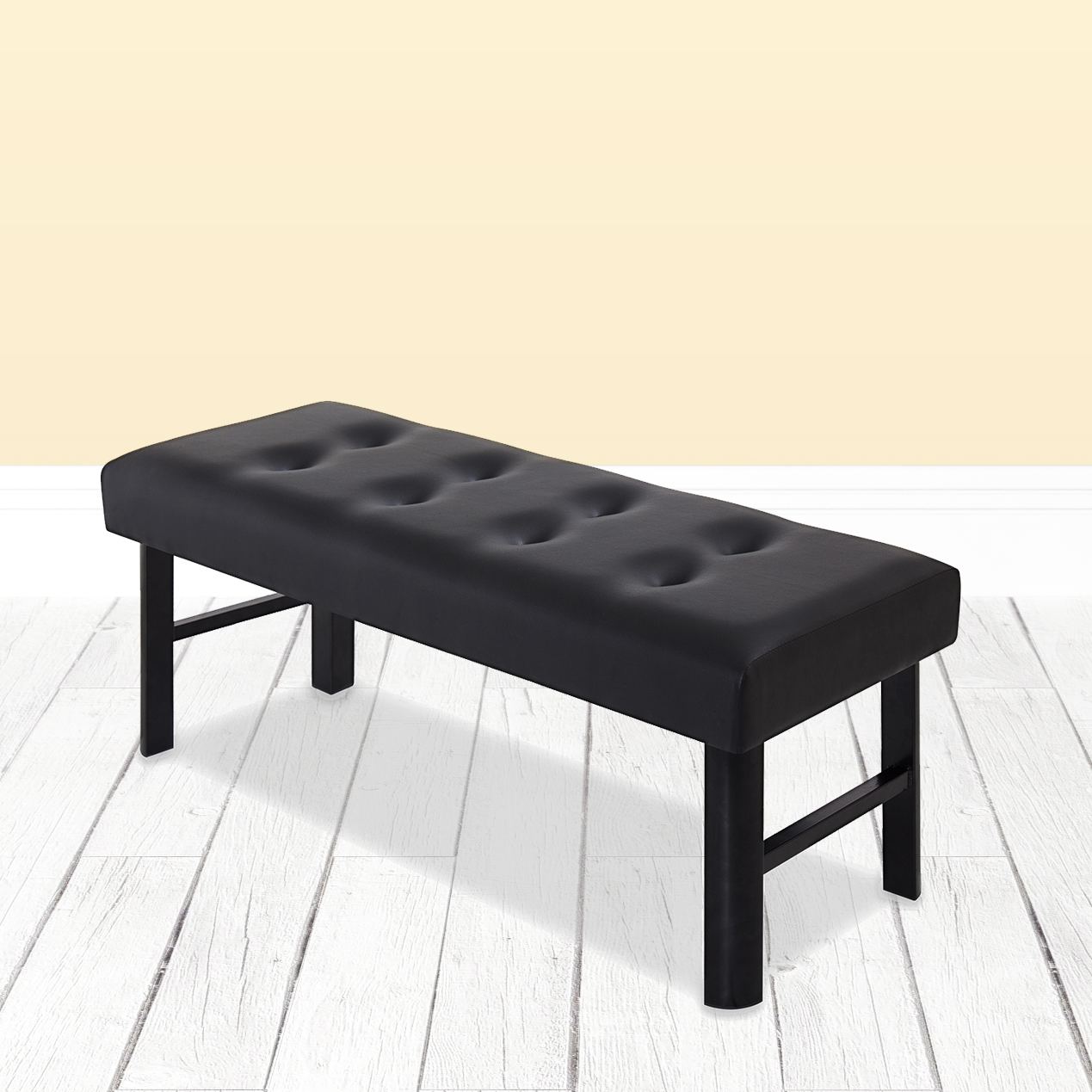 "GranRest 18"" Tall Upholstered Bed Bench Faux Leather, Black"