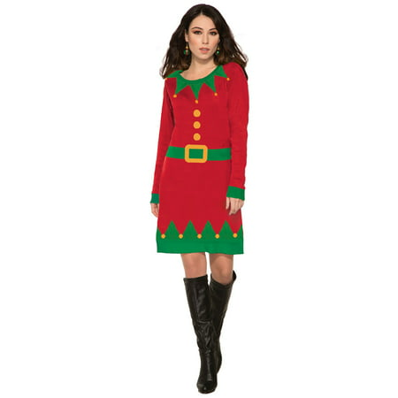 Womens Ugly Elf Sweater Dress - Elf Outfit Women