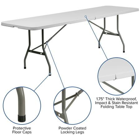 Flash Furniture 30''W x 96''L Bi-Fold Granite White Plastic Folding Table