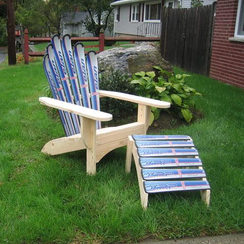 Ski Chair Snow Adirondack Chair and Ottoman