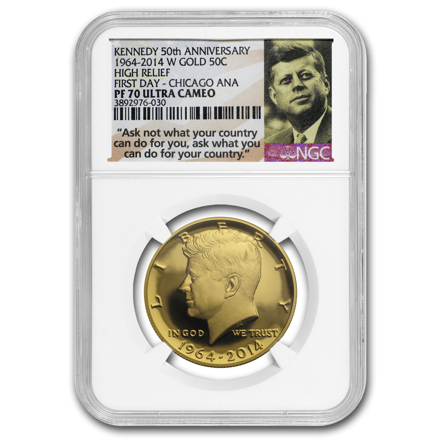 2014-W 3/4 oz Gold Kennedy Half Dollar Commem PF-70 NGC (FD, ER)