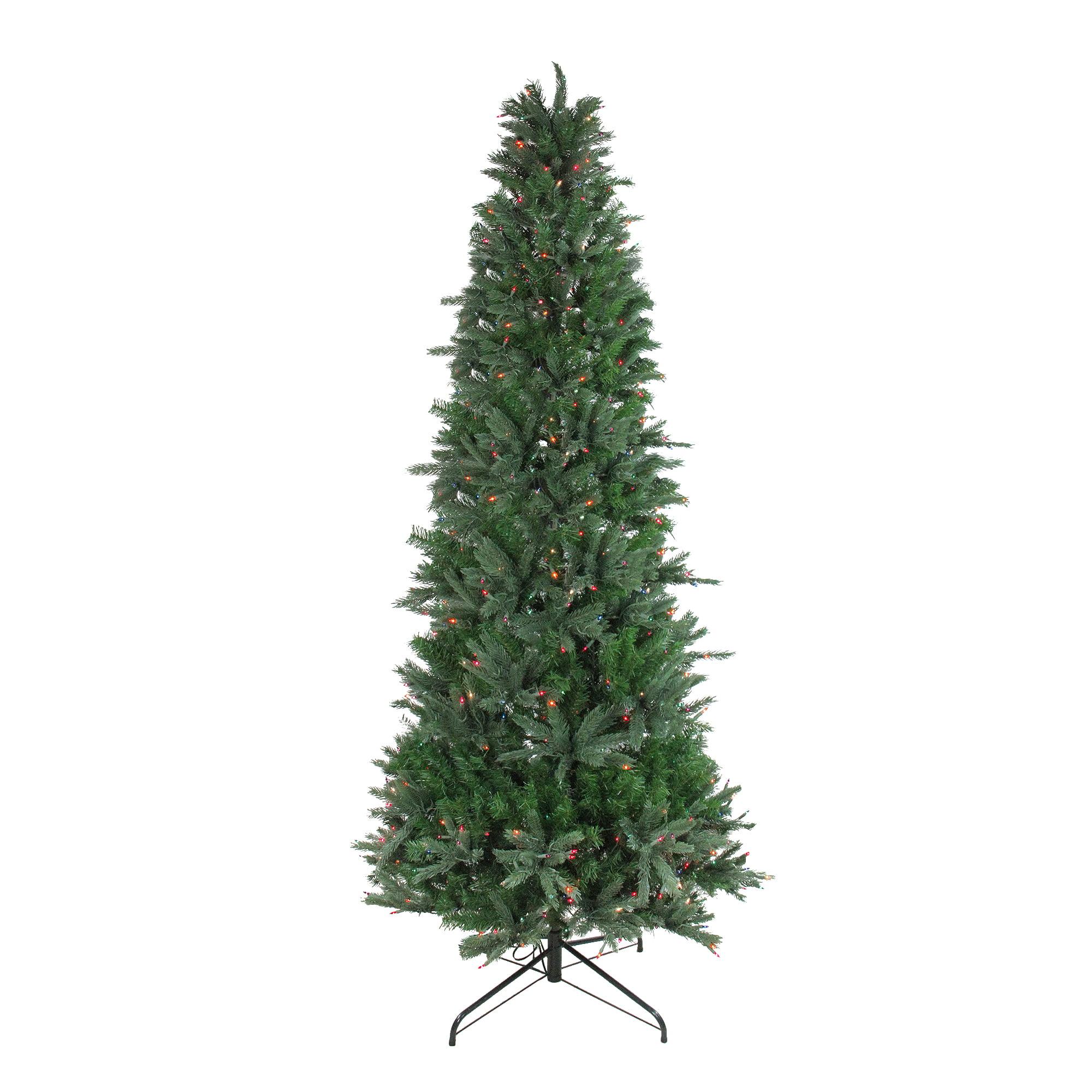 Multi Color Pre Lit Christmas Trees: Vickerman 9.5' Pre-Lit Artificial Christmas Tree Slim