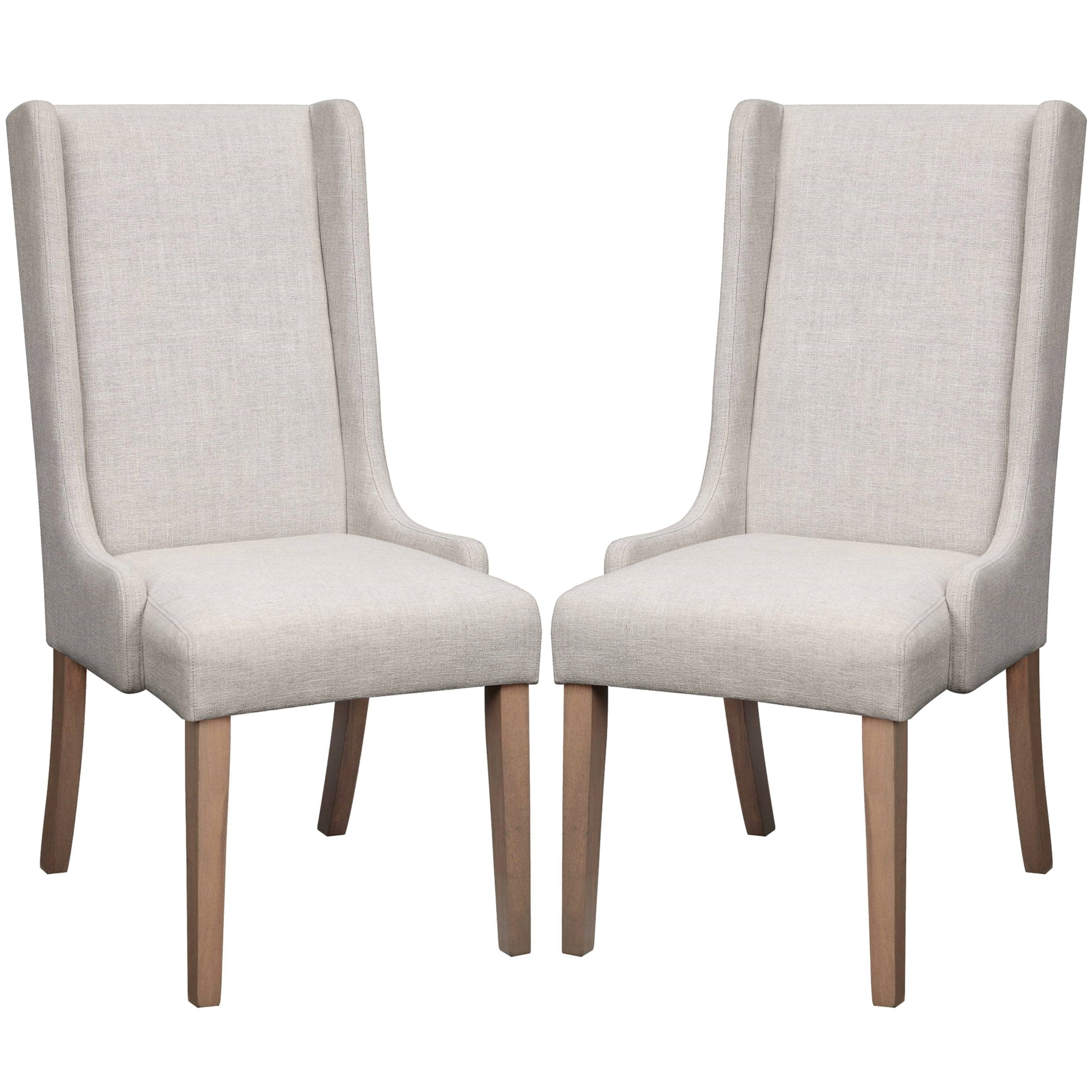 A Line Furniture Wing Back Design Beige Dining Chairs (Set of 2)