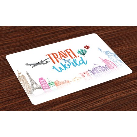 Quote Placemats Set of 4 Travel The World Lettering with Around World Landmarks Balloons Work of Art Image, Washable Fabric Place Mats for Dining Room Kitchen Table Decor,Multicolor, by