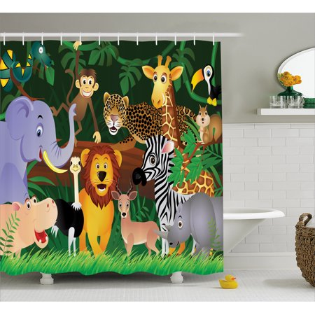 Bath Habitat Set (Zoo Shower Curtain, Animals in the Jungle Funny Expressions Exotic Comic Cheer Natural Habitat Illustration, Fabric Bathroom Set with Hooks, 69W X 70L Inches, Multicolor, by Ambesonne)