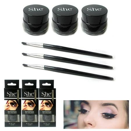3x Black Gel Eyeliner Waterproof Long Wear Cat Eye Brush Makeup Cosmetics Pencil