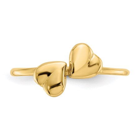 14k Yellow Gold Hearts Band Ring Size 7.00 S/love Fine Jewelry Gifts For Women For Her - image 1 de 9