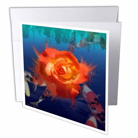 3dRose Koi Fish Pond, Greeting Cards, 6 x 6 inches, set of 6