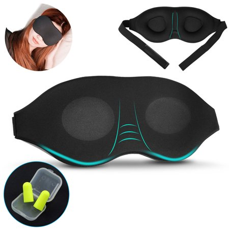 EEEKit 3D Travel Sleep Eye Mask, Adjustable Soft Sleeping Eye Mask Memory Foam Padded Shade Sleep Blindfold with Ear Plugs for Men Women (Men With Shades)