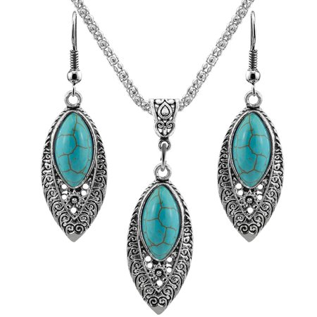 Antique Silver Bohemia Jewelry Set Natural Stone Marquise Hollow Pendant Necklace Earrings For Wedding - image 4 of 6