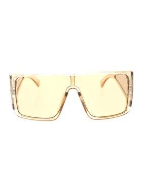 dcafd8cebfb6 Product Image Mobster Oversize Side Visor Lens Shield Flat Top Plastic  Sunglasses Black