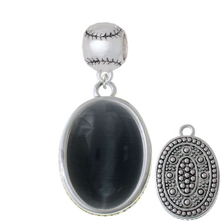 Oval - Imitation Cat's Eye - Black - Softball Charm Bead (Softball Charms)