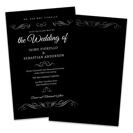 Personalized Black & White Scroll Wedding Invitation