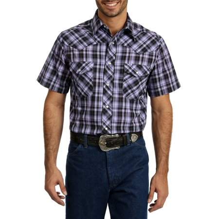 Wrangler Big Men's Short Sleeve Plaid Western Shirt - Mens Print Western Shirt