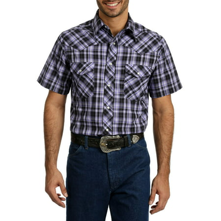 Wrangler Big Men's Short Sleeve Plaid Western Shirt - Peasant Shirt Mens