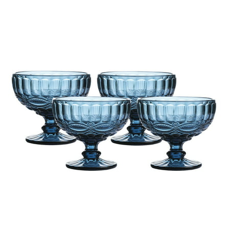 12 Ounce Glass Ice Cream Cups- Vintage Pressed Pattern Glass Dessert Bowls - Trifle/Fruit/Salad cocktail glass, Solid Glass Color, Set of 4 (Blue) Pattern Fruit Dessert Bowl