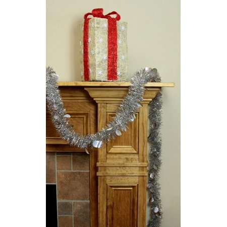 Northlight Festive Christmas Tinsel Garland with Holographic Polka Dots Unlit-5 Ply, 50', Silver