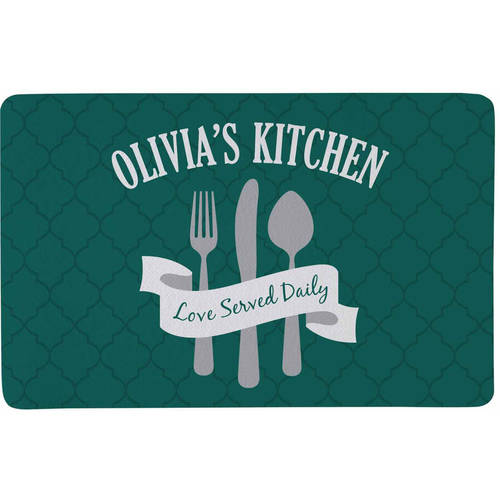 Personalized Love Served Daily Doormat, Available in 3 Colors