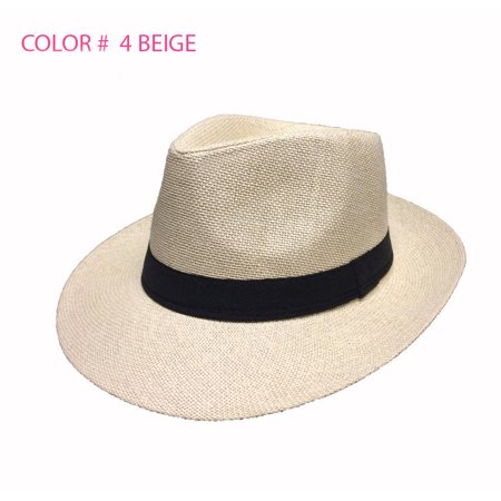 Golf Straw Fedora Hat (Women Men Brown Fedora Trilby Gangster Cap Summer Beach Sun Straw Panama Hat Bow)