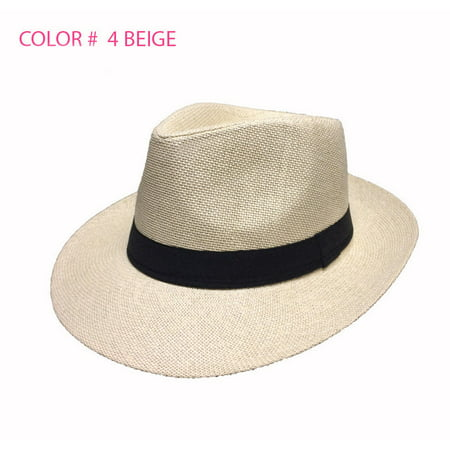 Old Gangster Hats (Women Men Brown Fedora Trilby Gangster Cap Summer Beach Sun Straw Panama Hat)