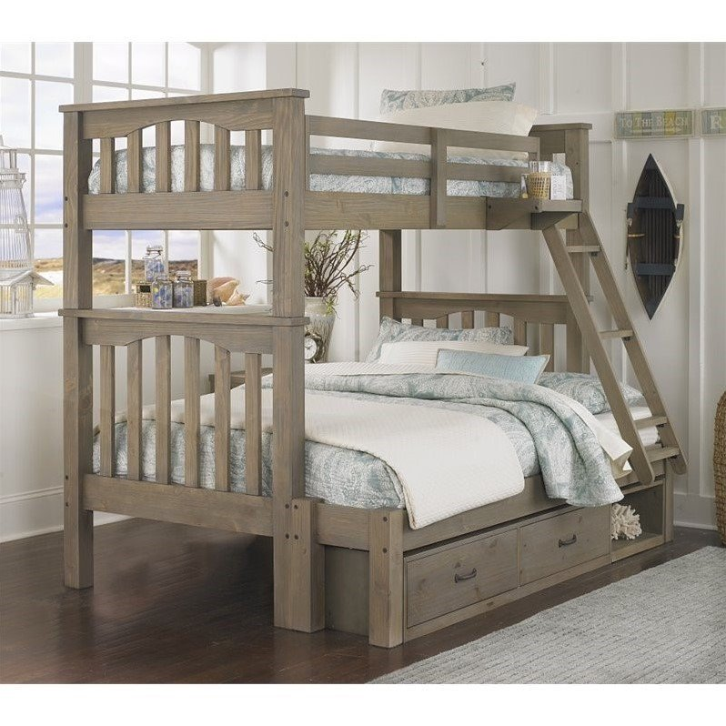 NE Kids Highlands Harper Twin over Full Storage Bunk Bed in Driftwood