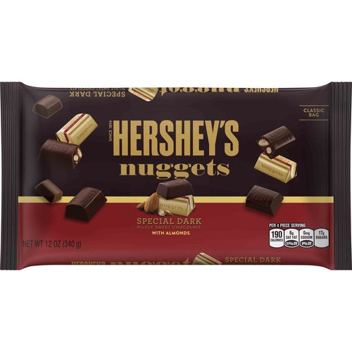 Hershey's Nuggets, Special Dark Chocolate with Almonds Candy, 12 Oz