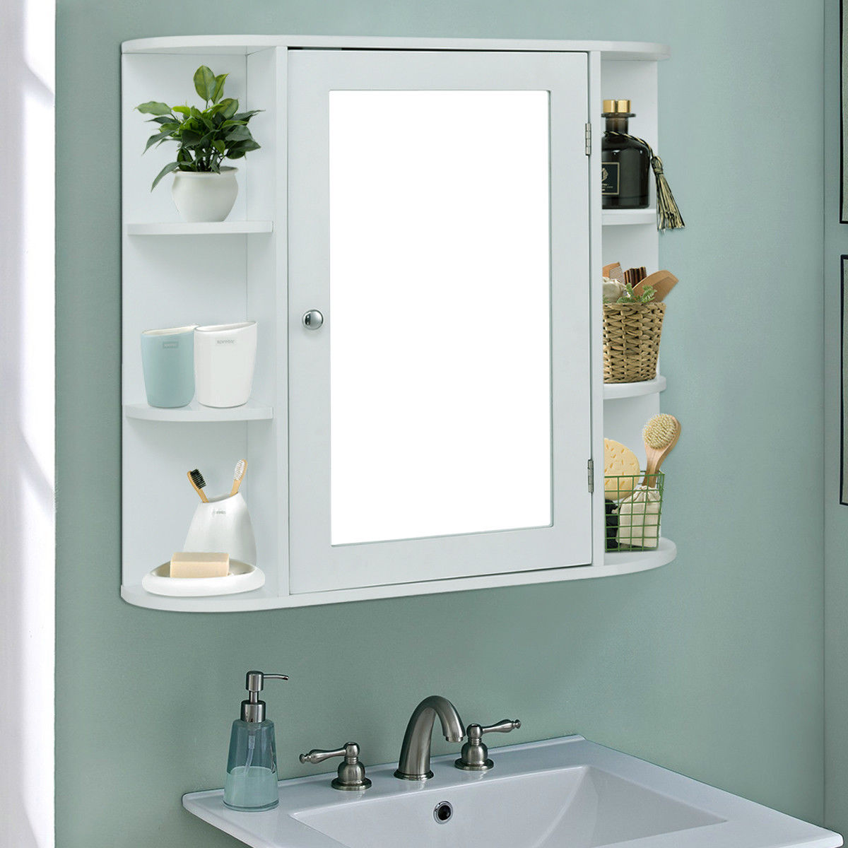 Costway Multipurpose Mount Wall Surface Bathroom Storage Cabinet ...