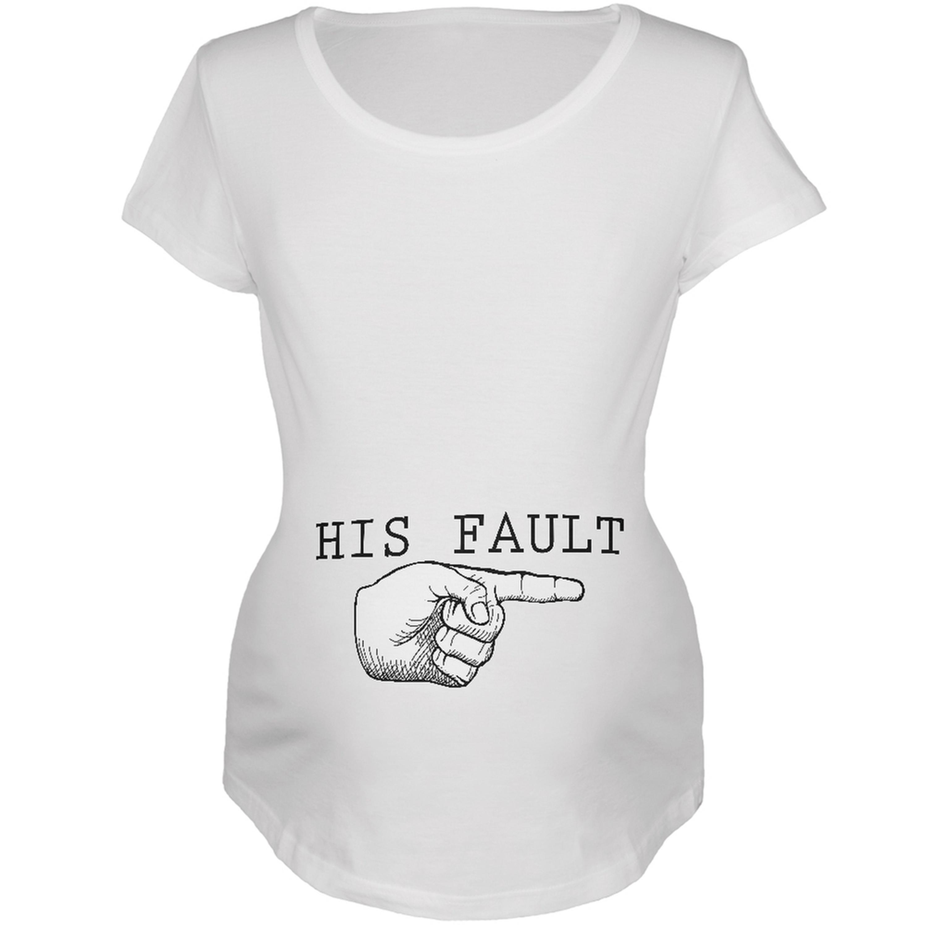 His Fault White Maternity Soft T-Shirt by