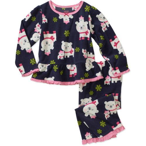 Child of Mine by Carters Baby Girls' 2 Piece Navy Polar Bear Fleece PJ's