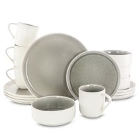 Gibson Elite Global Edge 16 Piece Round Stoneware Dinnerware Set in Light Gray