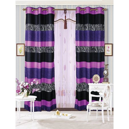Fancy Linen 2 Panel Curtains Teens Zebra Leopard Purple Pink White Black New