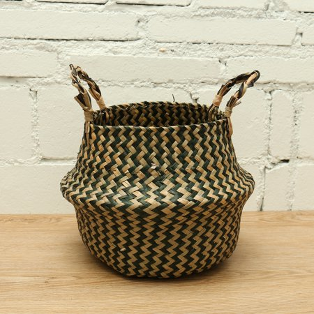 Handwoven Seagrass Belly Basket | Black Zig-Zag Foldable Storage Basket with Handles for Laundry, Picnic, Pot Cover, Decor | Natural, Eco-Friendly Household Items