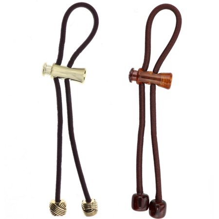 Pulleez Gold Knot, Brown Acrylic with Brown Elastic, Sliding Ponytail Holders 1 - Sliding Knot