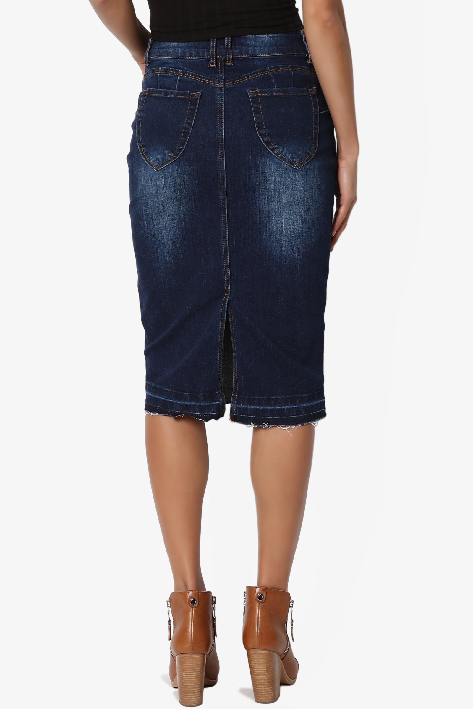 TheMogan Vintage Casual Wash Blue Jean Pencil Knee Length Midi Soft Denim Skirt