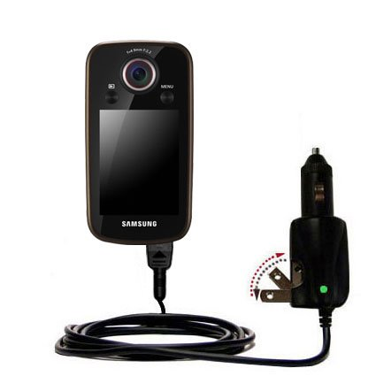 Intelligent Dual Purpose DC Vehicle and AC Home Wall Charger suitable for the Samsung HMX-E10 Digital Camcorder - Two critical functions, one unique